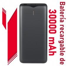 Powerbank  portátil de 30000 mAh. Batería de litio recargable. Ligera y de gran durabilidad.