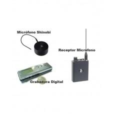 Kit Micrófono Shinobi III, Receptor y Grabadora