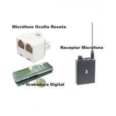 Kit Micrófono en Roseta, Receptor y Grabadora