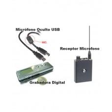 Kit Micrófono en USB, Receptor y Grabadora