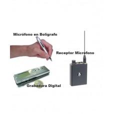 Kit Micrófono en Boligrafo, Receptor y Grabadora