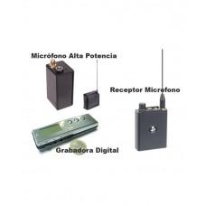 Micrófono Alta Potencia, Receptor y Grabadora