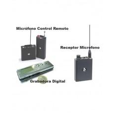Micrófono Control Remoto, Receptor y Grabadora