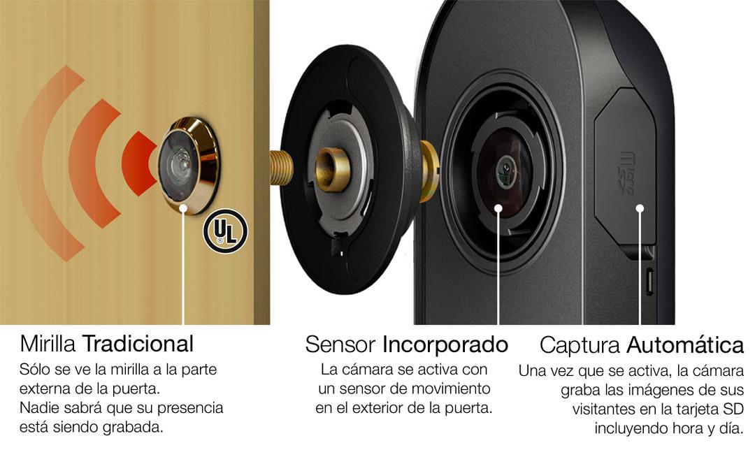 Cámara en Mirilla - Detección de Movimiento por Sensor Integrado